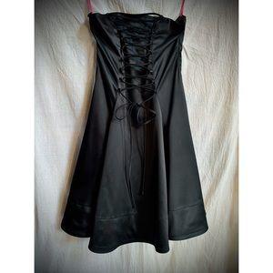 Vintage Betsey Johnson Black Satin Strapless Dress